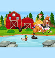 children at the farmland vector image vector image