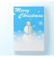 Christmas hollyday card with snowman vector image vector image