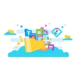 Cloud storage flat design vector image