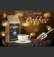 coffee cup with beans ads 3d of hot vector image