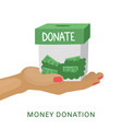 donation moneybox on hand help and support vector image