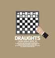 draughts or checker board game vector image vector image