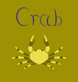 flat on background animal crab vector image vector image