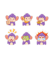 Funny cartoon monkey emotion stickers vector image