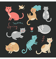 Funny cats on black background vector image