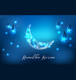 glowing ornate crescent with hanging lantern vector image vector image