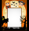 halloween sign with little draculakid and black g vector image vector image