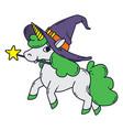 halloween unicorn with magic wand witch hat