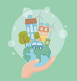 hand holding world and think green design vector image vector image