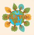 happy earth day banner green hand tree forest vector image
