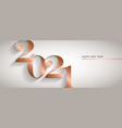 happy new year gold copper 2021 number banner vector image