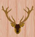 Head of reindeer on realistic wooden background vector image