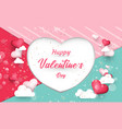 heart shaped balloons and clouds valentines day vector image