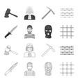 Knife prisoner mask on face steel grille