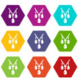 necklace icons set 9 vector image