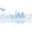Outline Riga Skyline with Blue Landmarks vector image vector image
