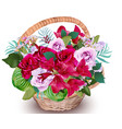 realistic floral bouquet in a basket vector image vector image