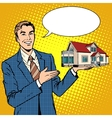 Realtor businessman offers home vector image