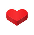 red isometric heart love symbol vector image vector image