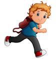 school boy cartoon running vector image