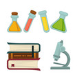 science chemistry book or beakers and biology vector image vector image