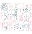 seamless pattern with hand drawn forest vector image vector image