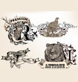 set logotypes with hand drawn wild animals vector image