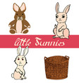 set of little bunnies with basket vector image vector image