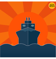 Ship on sunrise or sunset background EPS10 vector image vector image