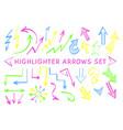 sketch arrow pointer highlight marker set vector image