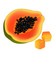 sliced on half and diced papaya realistic vector image