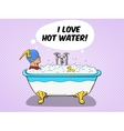 Superhero takes a bath comic vector image