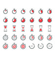timer and sand clock icon for use as cooking vector image vector image