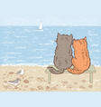 two cats looking at the sea vector image vector image