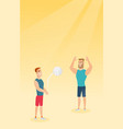 two caucasian men playing beach volleyball vector image vector image