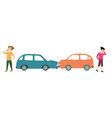 two men with two cars accident cartoon vector image