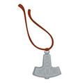 viking amulet silver pendant on rope mjolnir vector image