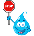Water Drop Character Holding A Stop Sign vector image vector image