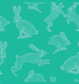 white bunnies on green background seamless pattern vector image