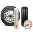 Winter Tire and Thermometer vector image