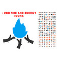 wood campfire icon with bonus power collection vector image