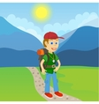Young man tourist with a backpack standing on a vector image vector image