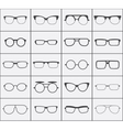 Set of glasses icons in black over white vector image