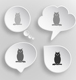 Owl White flat buttons on gray background vector image