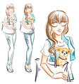 Fashion girl with little dog chihuahua vector image