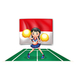 A cheerleader in front of the Indonesian Flag vector image vector image