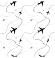 Airline routes with planes on white seamless vector image vector image