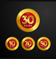 anniversary logo badge design shiny gold red vector image vector image