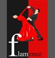 beautiful couple dancing flamenco poster vector image