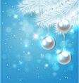 Blue Christmas background with white pine branch vector image vector image